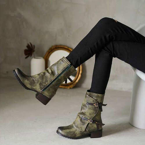 Women Mid-Calf Boots Mid Heels Booties Plus Size Vintage PU Leather
