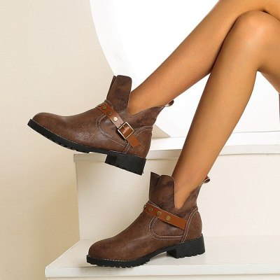 Women Ankle Boots Low Heel Shoes Woman Vintage PU Leather Warm