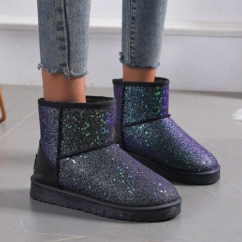 Women Ankle Boots Shoes Vintage Suede Warm Snow Shoe