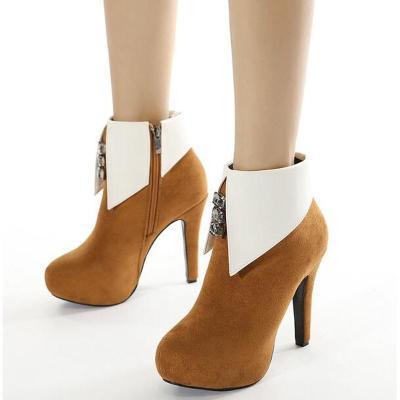 Women Ankle Boots High Heels Pumps Warm Shoes Woman Plus Size Platform Shoe