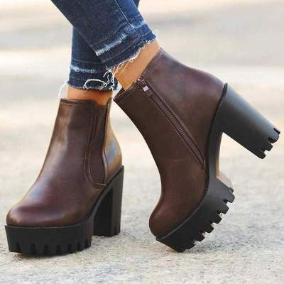 Women Ankle Boots High Heels Pumps Shoes Woman Booties PU Leather Platform Warm Shoe