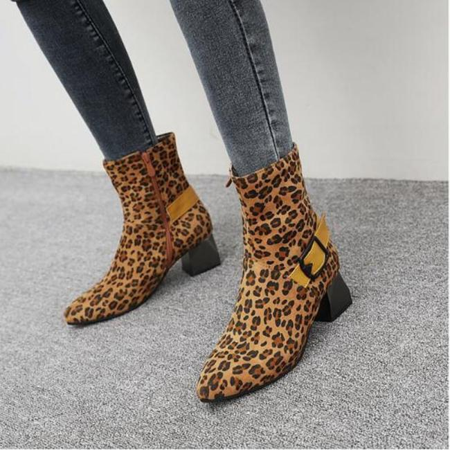 Women Mid-Calf Boots Mid Heels Pointed Toe Plus Size Shoes Plus Size Gladiator Booties Woman