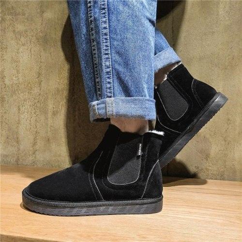 Women Ankle Boots Short Flat Winter Snow Warm Slip On Shoes Woman Plus Size Shoe