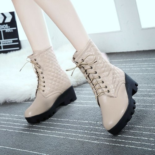 Women Mid-Calf Boots High Heels Booties Plus Size Gladiator PU Leather Lace Up Shoes Woman