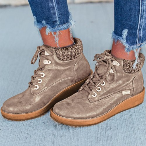 Women Ankle Boots Gladiator Wedges Shoes Snow Warm Lace Up Vintage Shoe