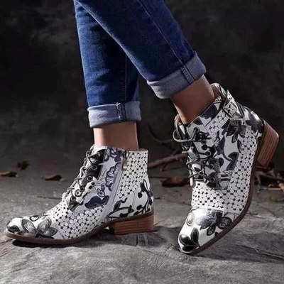 Women Ankle Boots Low Heels Shoes Woman PU Leather Warm Lace Up Shoe