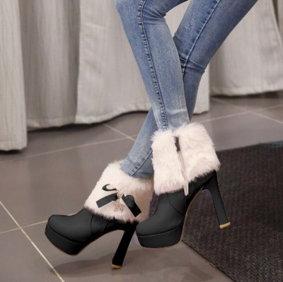Warm Fur Shoe Fashion Women Ankle Boots High Heels Shoes Booties Vintage