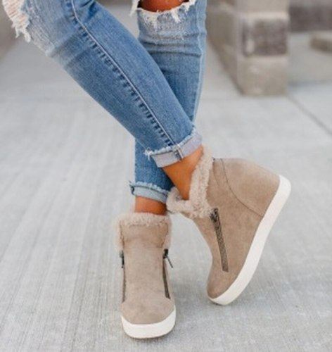 Fur Shoes Woman Ankle Boots Mid Heels Pumps Girls Warm