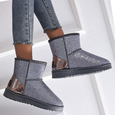 Women Ankle Boots Shoes Vintage Suede Warm Snow Shoe