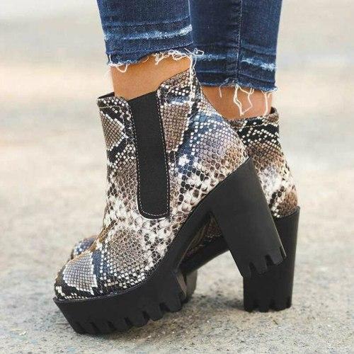 Women Ankle Boots High Heels Pumps Shoes Woman Booties PU Leather Platform Warm Shoe