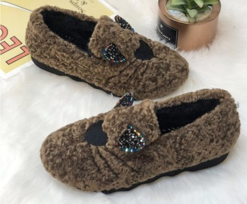 Flats Loafers Warm Women Shoes Slip On Round Toe Footwear Fur Casual Shoes