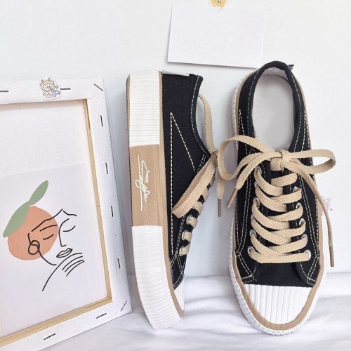 Woman Shoes Flats Lace Up Casual Canvas Shoes Flats Walking Comfortable Female