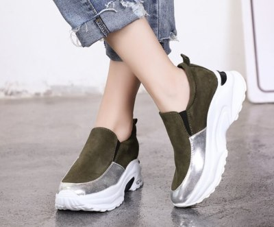 Women Sneakers Wedges Platform Shoes Woman Leather Casual Shoes
