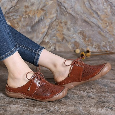 Women Retro Hollow Out Slip On Sandals Beach Sandals Comfortable Shoes