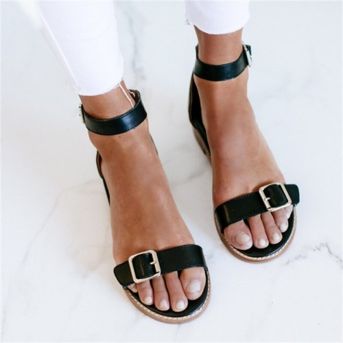 Women Shoes Fashion Buckle Striped Sandals Retro Flat Toe Sandals