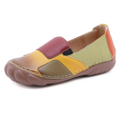 Women Leather Loafers Ladies Flats Shoes Female Casual