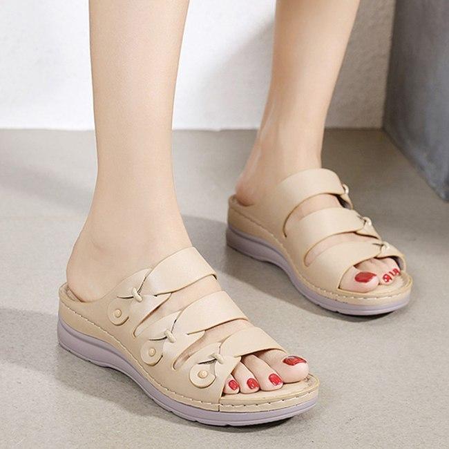 Women's Slippers Vintage Wedges Retro Slipper Ladies Slides Flip Flops Shoes