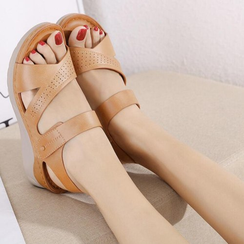Shoes Flat Platform Sandals Leather Casual Gladiator Wedges Women Shoes