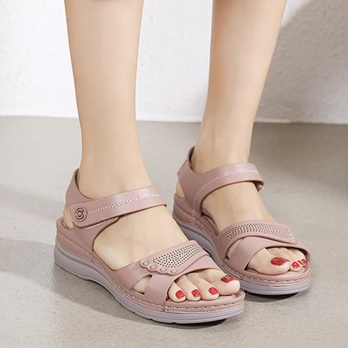 Vintage Wedge Sandals Buckle Casual Sewing Women Shoes Female Ladies Retro