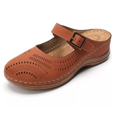 Women Flat Shoes For Women PU Leather Sandals Slip On Flip Flops Slipper Retro Shoes