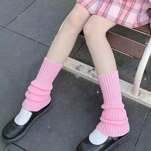 JK Lolita Socks Loose Boots Solid Color Knit Socks Foot Warming