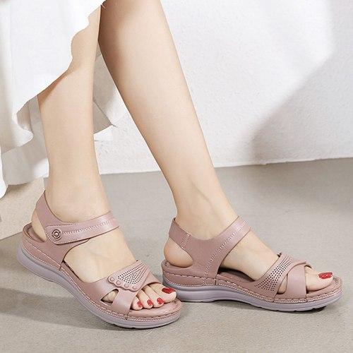 Vintage Wedge Sandals Buckle Casual Sewing Women Shoes Female Ladies Retro
