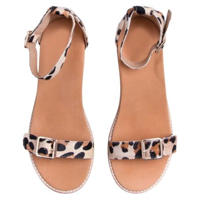 Women Shoes Fashion Buckle Striped Sandals Retro Flat Toe Sandals