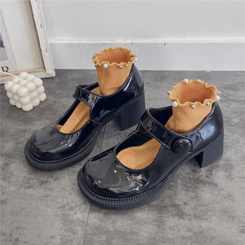 High Heels Shoes Women Pumps Fashion Leather Platform Round Toe Mary Jane Shoes