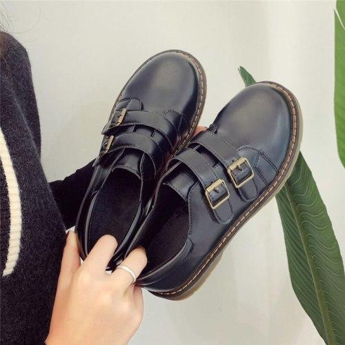 Leather Shoes Women Mary Jane Shoes High Heels Retro Platform Shoes Women