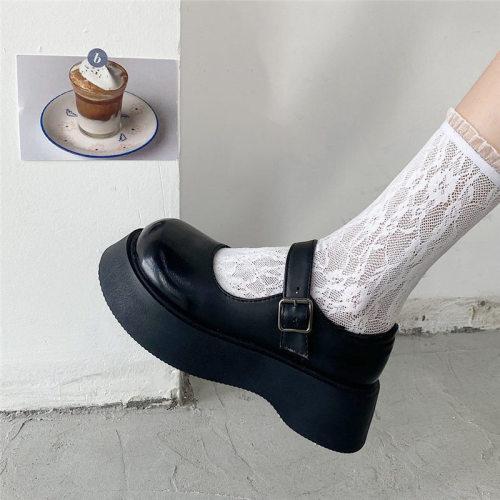 Women Shoes Uniform Ankle-Strap Mary Jane Shoes Platform Vintage