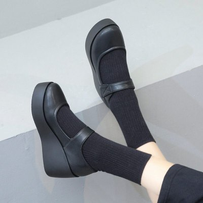 Lolita Mary Jane Shoes Women High Heels Buckle Casual Shoes Platform Wedges