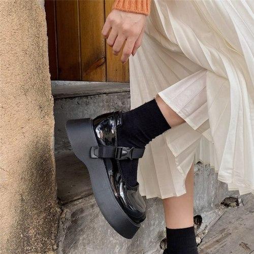 Lolita Shoes Platform Heel Bandage Women Cosplay Mary Jane Shoes