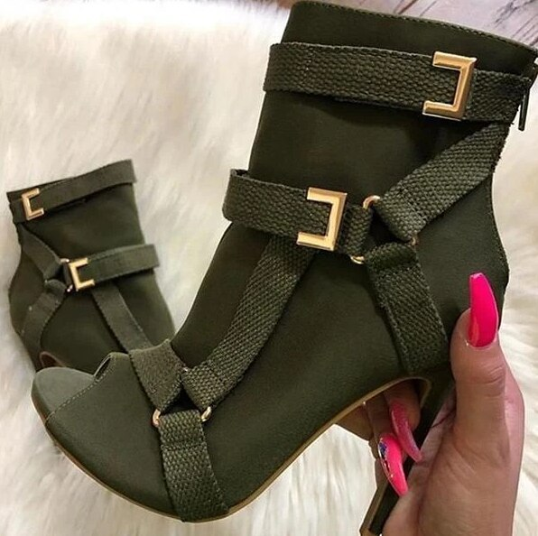Fashion Summer Sandals Peep Toe High Heel Ankle Strap Hollow Out Sandals