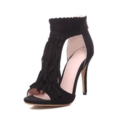 Women Heel High Shoes Fashion Tassel Open Top Thin Heel Pumps for Ladys Shoes