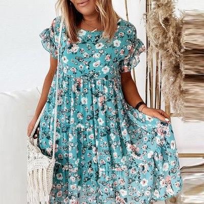 Women Dress Fashion Print Party Dress Elegant O Neck Loose Mini Dresses