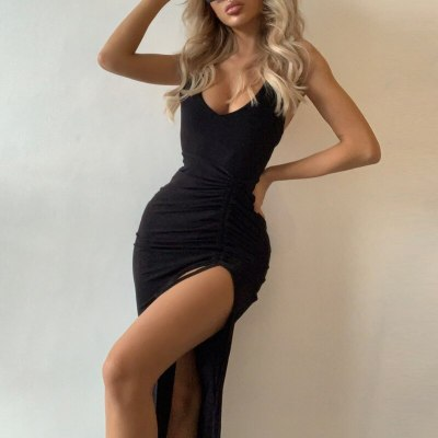 Sexy Sleeveless V Neck Dress Fashion Split Maxi Party Dress Women Long Dress