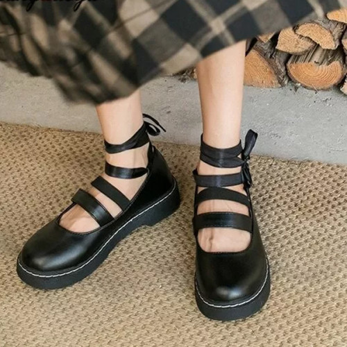 Vintage Shoes College Girl Uniform PU Leather Mary Jane Shoes