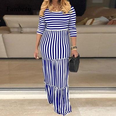 Casual Print Women Maxi Party Dress Elegant Office O-Neck Long Dress Sleeve Dress