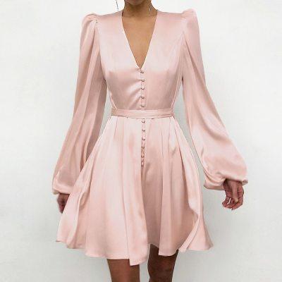 Fashion Long Sleeve Dress Elegant Women Mini Dress Casual Loose V-Neck Party Dress
