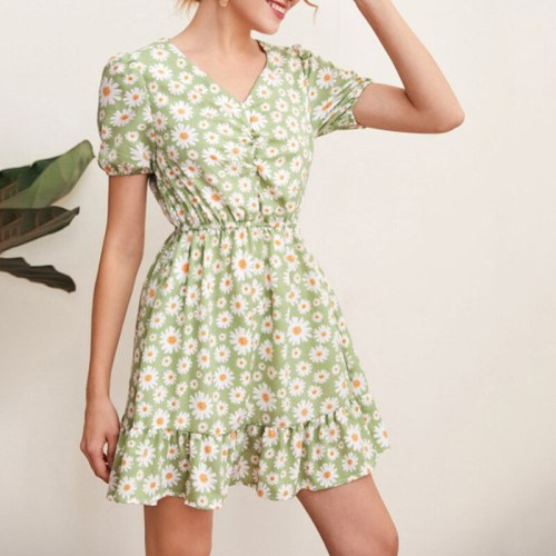 Girl Summer Short-sleeved V-neck Slim Sundress Female Vintage Beach Dress