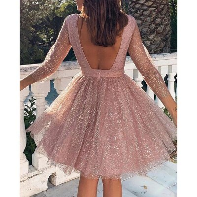 Backless Dress Women A-Line Party Dress Elegant Long Sleeve Clothing Dresses