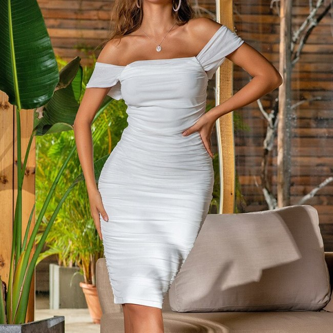 Off Shoulder Sexy Backless Dress For Women Elegant Party Bodycon Pleated Dresses