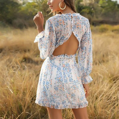 Sexy Boho Summer Beach Sundress V-Neck Lantern Sleeves Mini Dress Women
