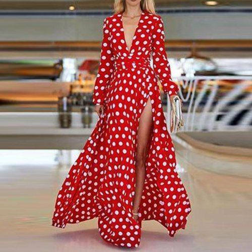Long Sleeve Summer Dress Women Boho Dresses Ladies Sexy High Split Long Dress