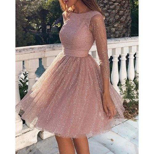 Backless Dress Women A-Line Party Dress Elegant Long Sleeve Clothing Dresses