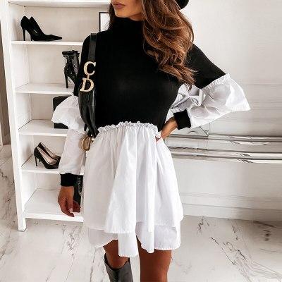 Women Flare Sleeve Ruffles Dress Casual Chic Dress Ladies A Line Office