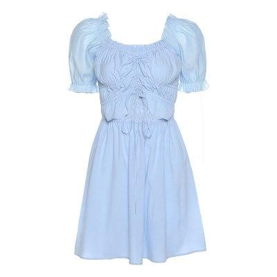 Girl Summer Elegant Solid V-Neck Pleated Mini Dress Women