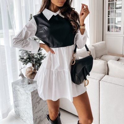Women Leather Patchwork Dress Casual Long Sleeve Plaid Chic Dress Lady