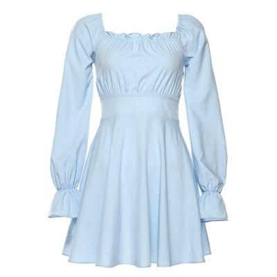 Women's Long-Sleeved Retro Halter Strap Ruffle Dress for Women Elegant