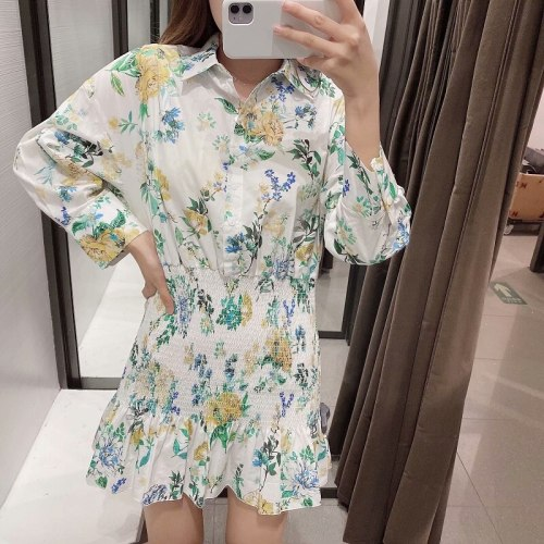 Women Elegant Vintage Dress Long Sleeve Mini Dress Waist Dresses